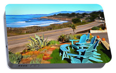 Portable Battery Charger featuring the photograph Moonstone Beach Seat With A View Digital Painting by Barbara Snyder
