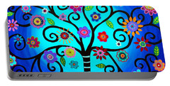 Portable Battery Charger featuring the painting Moore's Tree Of Life by Pristine Cartera Turkus