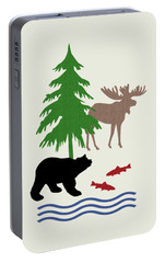 Moose And Bear Pattern Art Portable Battery Charger by Christina Rollo