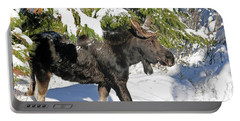 Moose In Snow Portable Battery Charger