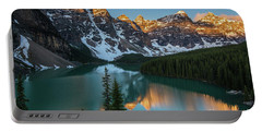 Moraine Lake Golden Sunrise Reflection Portable Battery Charger by Mike Reid