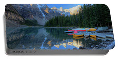 Moraine Lake Sunrise Blue Skies Canoes Portable Battery Charger