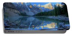 Moraine Lake Sunrise Blue Skies Logs Portable Battery Charger