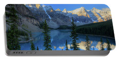 Moraine Lake Sunrise Blue Skies Portable Battery Charger