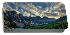 Moraine Lake Sunset - Golden Rays Portable Battery Charger