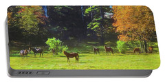 Morgan Horses In Autumn Pasture Portable Battery Charger