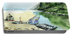 Portable Battery Charger featuring the painting Morning At Porto Novo Beach by Dora Hathazi Mendes