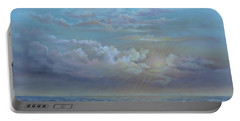 Portable Battery Charger featuring the painting Morning At The Ocean by Katalin Luczay