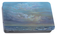 Portable Battery Charger featuring the painting Morning At The Ocean by Luczay