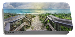 Portable Battery Charger featuring the photograph Morning Blues At The Dune by Debra and Dave Vanderlaan