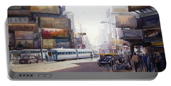 Portable Battery Charger featuring the painting Morning City Street by Samiran Sarkar