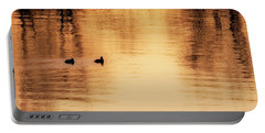 Portable Battery Charger featuring the photograph Morning Ducks 2017 Square by Bill Wakeley