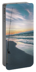 Portable Battery Charger featuring the photograph Morning Fishing At The Beach  by John McGraw