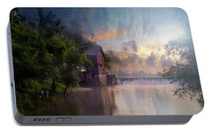 Portable Battery Charger featuring the photograph Morning Fishing  by Joel Witmeyer