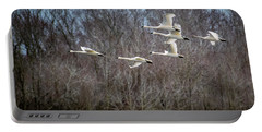 Morning Flight Of Tundra Swan Portable Battery Charger