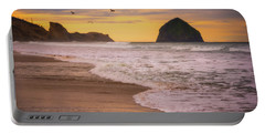 Portable Battery Charger featuring the photograph Morning Flight Over Cape Kiwanda by Darren White