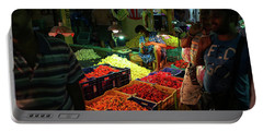 Portable Battery Charger featuring the photograph Morning Flower Market Colors by Mike Reid