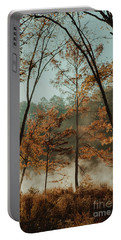 Morning Fog At The River Portable Battery Charger