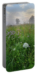 Morning Fog Over Glacial Park Prairie Portable Battery Charger