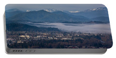Morning Fog Over Grants Pass Portable Battery Charger by Mick Anderson