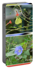 Portable Battery Charger featuring the photograph Morning Glories And Butterfly by EricaMaxine  Price