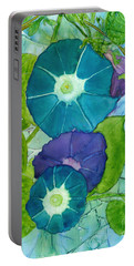 Morning Glories In Watercolor On Yupo Portable Battery Charger