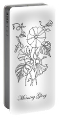 Morning Glory Botanical Drawing Portable Battery Charger
