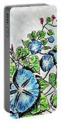 Portable Battery Charger featuring the painting Morning Glory by Monique Faella