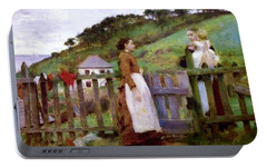 Portable Battery Charger featuring the painting Morning Gossip by Henry Scott Tuke