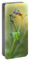 Morning Impression With Blue Dragonfly Portable Battery Charger by Jaroslaw Blaminsky