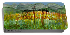 Portable Battery Charger featuring the painting Morning In Backyard At Barton by Donna Walsh