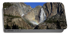 Morning Light On Upper Yosemite Falls In Winter Portable Battery Charger