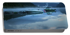 Morning Mist Adams Lake Portable Battery Charger by Theresa Tahara