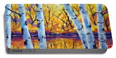 Morning Sparkle Birches By Prankearts Portable Battery Charger