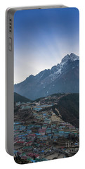 Portable Battery Charger featuring the photograph Morning Sunrays Namche by Mike Reid