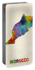 Portable Battery Charger featuring the digital art Morocco Watercolor Map by Michael Tompsett