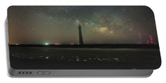 Morris Island Light House Milky Way Portable Battery Charger by Robert Loe