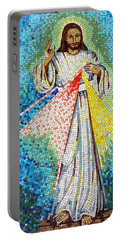 Mosaic Of Christ Rising Portable Battery Charger by Joseph Frank Baraba