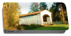 Mosby Creek Covered Bridge Portable Battery Charger by Wendy McKennon