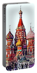 Moscow Saint Basil Cathedral Illustration Portable Battery Charger
