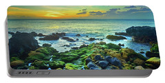 Portable Battery Charger featuring the photograph Moss Covered Rocks At Sunset In Molokai by Tara Turner