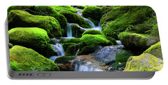 Portable Battery Charger featuring the photograph Moss Rocks And River by Raymond Salani III