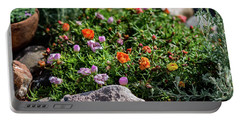 Moss Rose In The Rocks #1 Portable Battery Charger