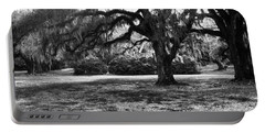Moss Trees Black And White Portable Battery Charger