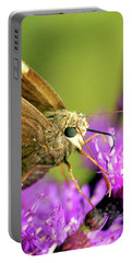 Moth On Purple Flower Portable Battery Charger by Meta Gatschenberger