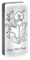 Moth Orchid Botanical Drawing Black And White Portable Battery Charger
