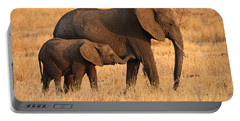 Mother And Baby Elephants Portable Battery Charger