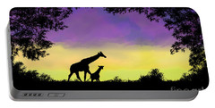Mother And Baby Giraffe At Sunset Portable Battery Charger