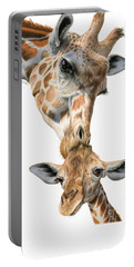 Mother And Baby Giraffe Portable Battery Charger by Sarah Batalka