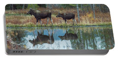 Portable Battery Charger featuring the photograph Mother And Baby Moose Reflection by Rebecca Margraf
